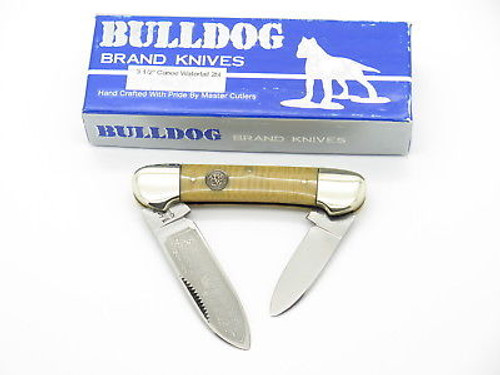 VINTAGE 1996 BULLDOG BRAND PIT BULL CANOE FOLDING POCKET KNIFE WATERFALL