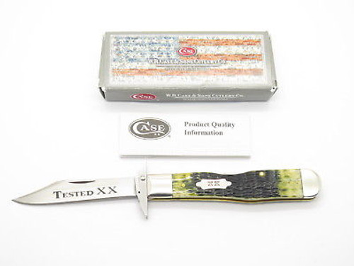 2015 CASE TESTED XX 6111 1/2 CHEETAH OLIVE BONE SWING GUARD FOLDING KNIFE