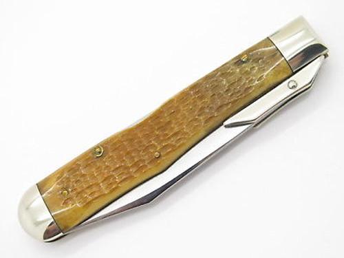 Case Classic XX 61011 1/2 Cheetah Yellow Bone Swing Guard Folding Knife