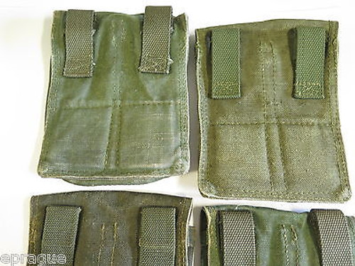 LOT of 2 VINTAGE COLD WAR AK-47 MILITARY 3 CELL GUN MAGAZINE AMMO POUCH CASE BAG