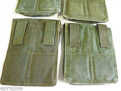 LOT of 3 VINTAGE COLD WAR AK-47 MILITARY 3 CELL GUN MAGAZINE AMMO POUCH CASE BAG
