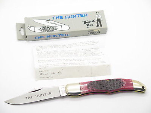 1980s Honest Abe Parker Seki Japan Red Bone Large Folding Hunter Knife