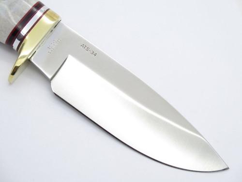 Buck 192 Vanguard ATS-34 Custom Elk Stag Bent-tang Fixed Blade Hunting Knife