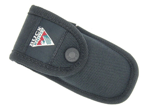 BUCK 422 112 450 FOLDING KNIFE HEAVY BLACK NYLON MOUNTAIN LOGO SHEATH HOLSTER