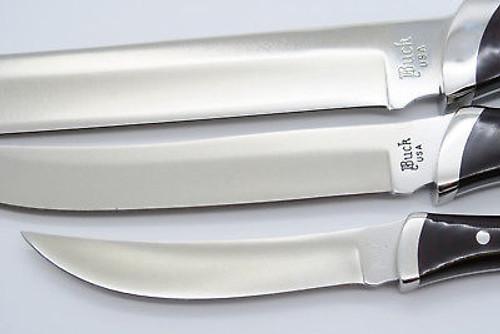 VINTAGE BUCK EMPRESS TRIO ROYALTY 440C CUSTOM KITCHEN KNIFE CHEF CARVER PARING SET