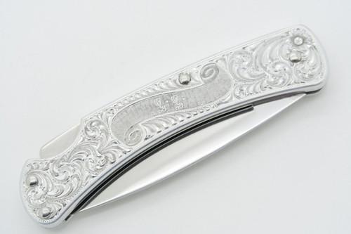 Vintage Buck USA 510 500 Classic II Aluminum Engraved Folding Pocket Lockback Knife