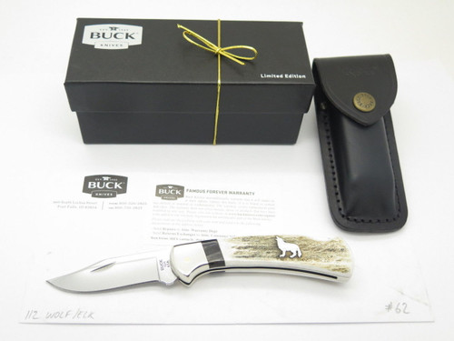 Custom Buck 112 Ranger Howling Wolf Elk Stag & Mirror Bld Folding Hunter Knife