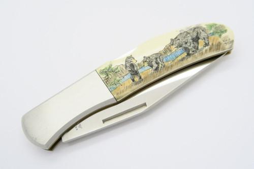 Vintage Kershaw Kai 4200 Seki Japan Karst Bear Scrimshaw Folding Pocket Knife