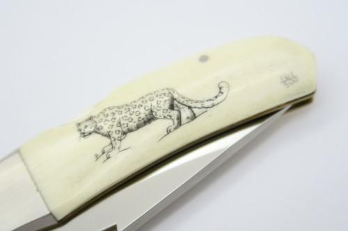 Vintage Kershaw Kai 4200 Seki Japan Cheetah Scrimshaw Lockback Folding Pocket Knife