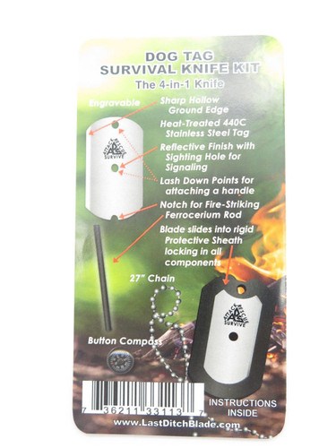 ARS USA BLACK MILITARY ID DOG TAG KNIFE EMERGENCY SURVIVAL SIGNAL COMPASS FIRESTARTER KIT