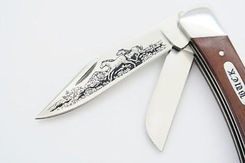 Vtg Buck Script 701 Mustang Limited Aurum Etch Stockman Folding Pocket Knife