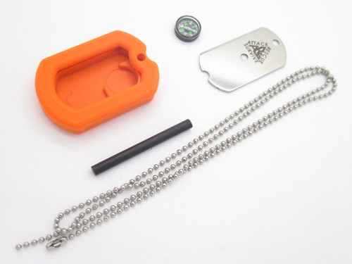 ARS USA ORANGE MILITARY ID DOG TAG KNIFE EMERGENCY SURVIVAL SIGNAL COMPASS FIRESTARTER KIT