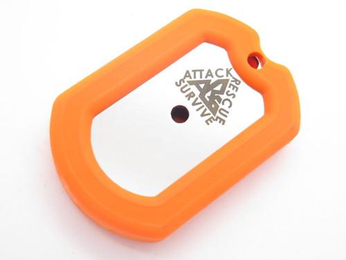 ARS Orange Military ID Dog Tag Knife Emergency Survival Compass Firestarter Kit