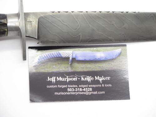 Jeff Murison USA Custom Handmade Stag & Damascus Bowie Fixed Blade Hunting Knife