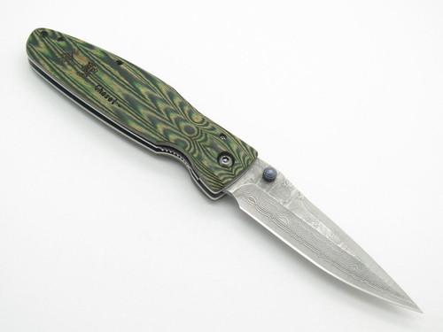 Mcusta Seki Japan Rikyu MC-184D Green Wood VG-10 Damascus Folding Hunter Knife