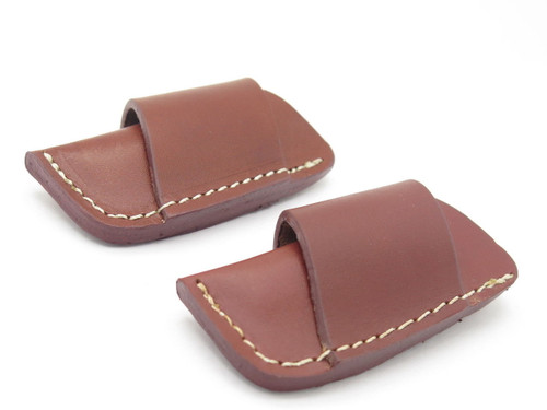 Lot of 2 - Brown Side Draw Stockman Trapper Folding Pocket Knife Sheath Case