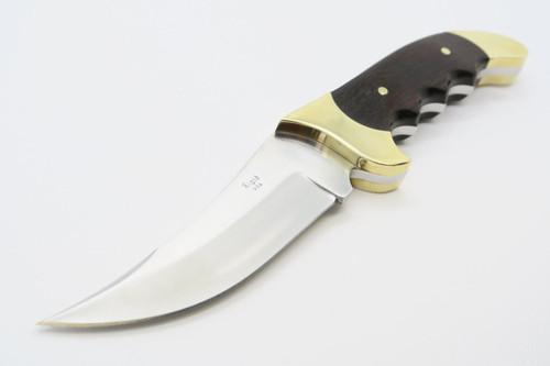 Vtg Rigid USA Rebel Ironwood & Brass Fixed Blade Hunting Skinner Hunter Knife