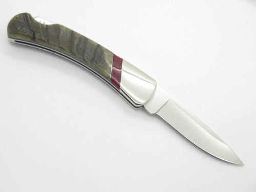 LEROY REMER RRR BUCK 500 DUKE FOLDING LOCKBACK KNIFE CUSTOM RAM HORN HANDLE