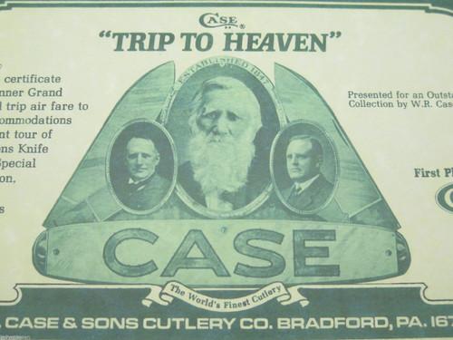 "CASE XX KNIFE ""TRIP TO HEAVEN"" CERTIFICATE WR CASE & SONS CUTLERY CO BRADFORD PA"