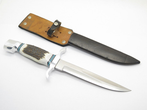 VINTAGE 1972 CUSTOM USA STAG FILE BLADE FIXED HUNTING FIGHTER KNIFE & SHEATH