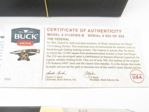 Serial #003 ~ Buck 110 1964-2014 50th Anniversary Federal Folding Hunter Knife