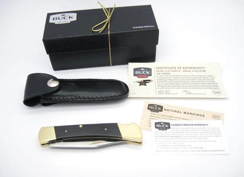 BUCK 110 CUSTOM LIMITED 1964-2014 50th ANNIVERSARY FEDERAL FOLDING HUNTER KNIFE