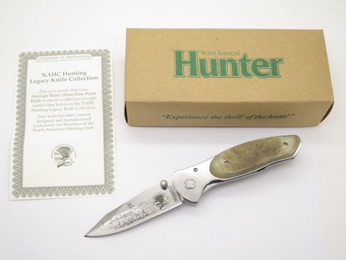 NAHC Antelope Framelock Folding Knife Ram Horn North American Hunting Club
