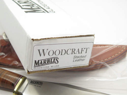 MARBLES GLADSTONE MI USA WOODCRAFT STACKED LEATHER FIXED BLADE HUNTING KNIFE NEW