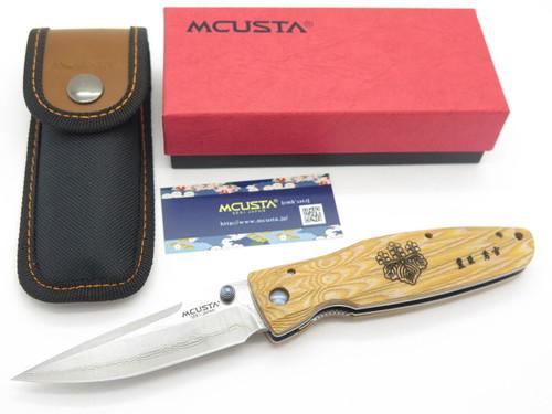 Mcusta Seki Japan Hideyoshi MC-182D Wood & VG-10 Damascus Folding Hunter Knife