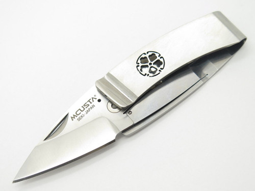 MCUSTA SEKI JAPAN KAMON MC-82 KIKYO CREST AUS-8 FOLDING MONEY CLIP POCKET KNIFE