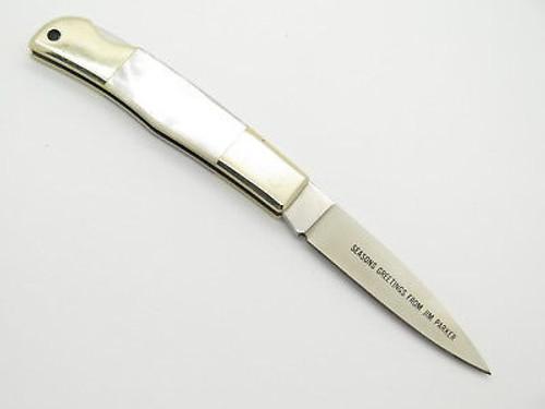 Vtg Parker Seki Japan Christmas Pearl MOP Lockback Folding Pocket Knife