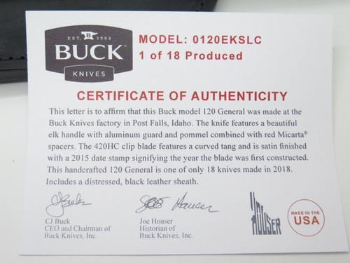 Buck 120 120EKSLC General Elk Stag Custom Limited Fixed Blade Hunting Knife
