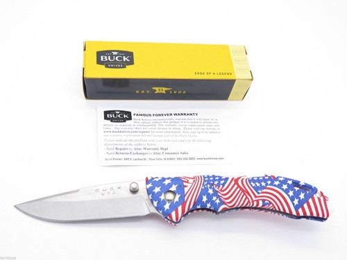 BUCK 285 BANTAM USA US AMERICAN FLAG MED. FOLDING HUNTER LOCKBACK POCKET KNIFE