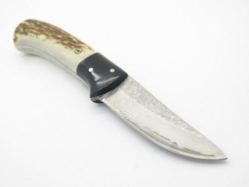 Custom Idaho USA Elk Stag Buffalo Horn Damascus Fixed Blade Hunting Knife