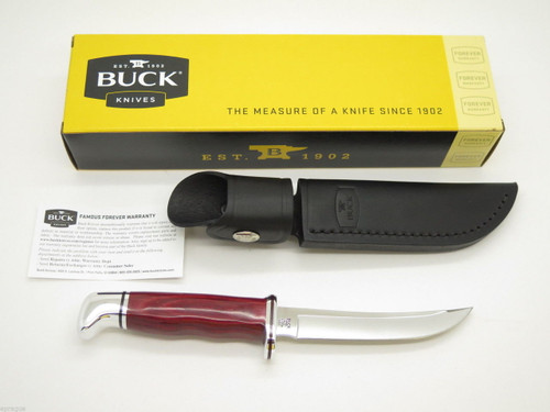 Buck 118 118BO5 Personal Red Cherry Handle Hunting Knife Custom Limited & Sheath