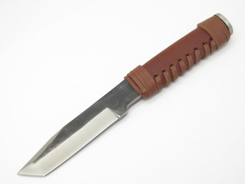 Coleman 2028 Fixed Blade Tanto Knife Forged Stainless & Leather Wrapped Handle