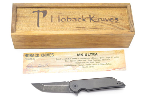 JAKE HOBACK MK ULTRA CUSTOM BLACK DLC S35VN TANTO TITANIUM FOLDING POCKET KNIFE