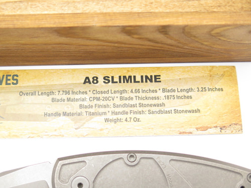 JAKE HOBACK A8 SLIMLINE SW CUSTOM TITANIUM FRAMELOCK TANTO FOLDING POCKET KNIFE