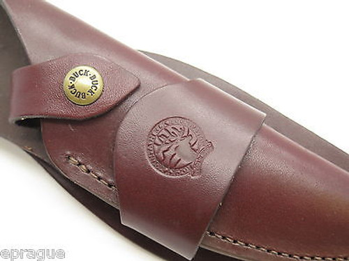 BUCK 402 AKONUA BURGUNDY LEATHER FIXED BLADE KNIFE SHEATH RMEF CUSTOM