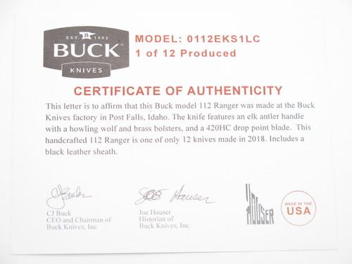 Custom Buck 112 Ranger Custom Buck 112 Ranger Wbc Wolf Inlay Elk Stag Folding Hunter Lockback KnifeWolf Inlay Elk Stag Folding Hunter Lockback Knife