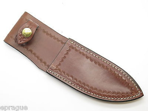 VTG 1980s BUCK SKINNER CUSTOM BROWN LEATHER FIXED BLADE HUNTING KNIFE SHEATH