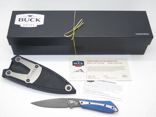 Buck 017 0017CFSLE Thorn Damascus Carbon Fiber Custom Limited Fixed Blade Knife