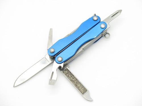 Blue Mini Key Chain Folding Multi Tool Survival Scissor Pocket Knife & Sheath