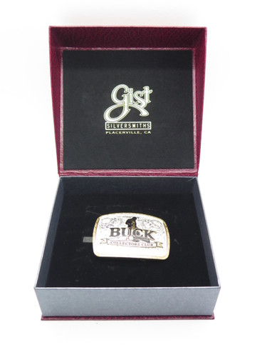2013 Buck Knives Collectors Club 25th Anniversary Silver Gold Gist Belt Buckle