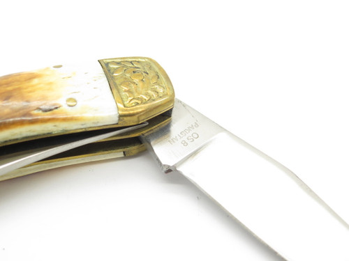 Vtg Old Smoky OS-8 Pakistan Deer Hunter Folding Moose Stag Pocket Lockback Knife