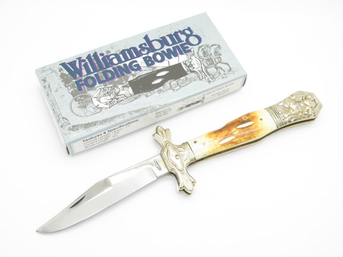 Vtg Old Smoky Pakistan OS-36 Williamsburg Bone Stag Folding Bowie Lockback Knife