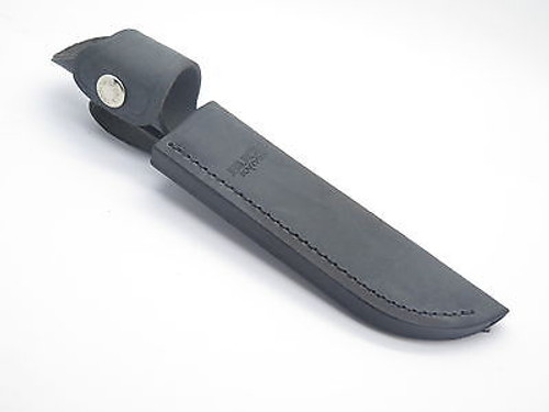 BUCK 121 FISHERMAN 105 BLACK DISTRESSED LEATHER FIXED BLADE KNIFE SHEATH