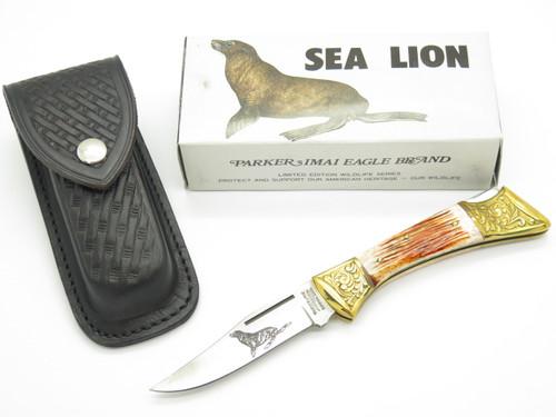 Vtg Parker Imai KF-266 Seki Japan Wildlife Sea Lion Folding Hunter Pocket Knife