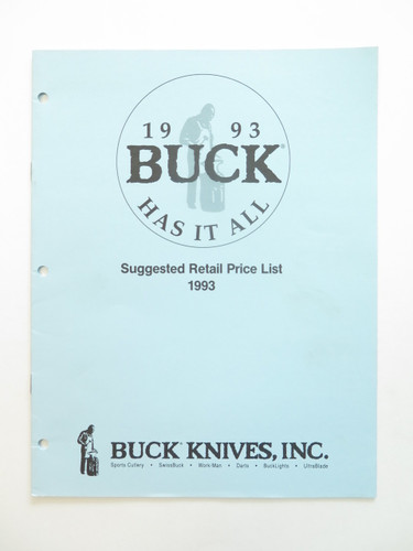 1993 BUCK DEALER KNIFE CATALOG PRICE LIST BOOK FIXED FOLDING 110 124 119 184