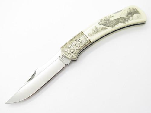 Gutmann Explorer G. Sakai Seki Japan Folding Lockback Pocket Knife Scrimshaw Elk